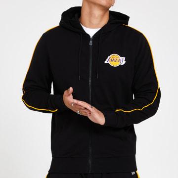 New Era - Sweat Capuche Zippé A Bande Stripe Piping 12369763 Los Angeles Lakers Noir