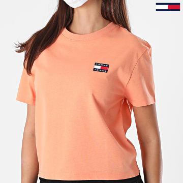 Tommy Jeans - Tee Shirt Femme Badge 6813 Orange