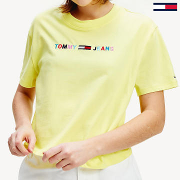 Tommy Jeans - Tee Shirt Femme Colour-Block Logo 8041 Jaune
