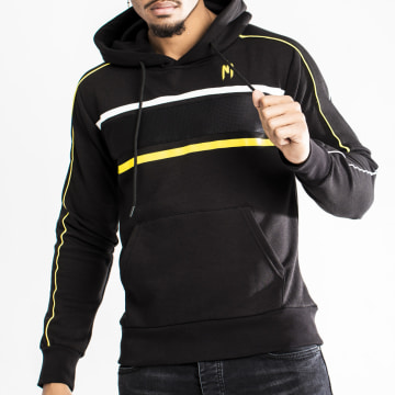 NI by Ninho - Sweat Capuche Zippé Diamond Noir Jaune