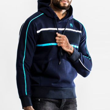 NI by Ninho - Sweat Capuche Zippé Diamond Blanc Bleu Marine