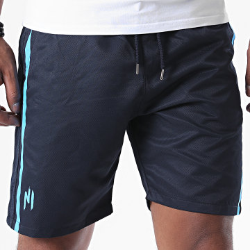 NI by Ninho - Short A Bande Diamond Bleu Marine Blanc