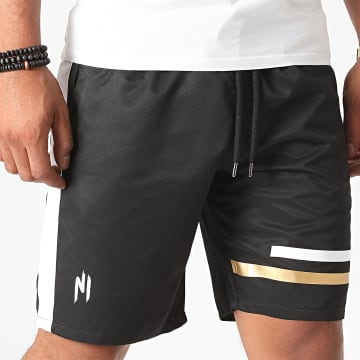 NI by Ninho - Short A Bande Shaft Noir Or