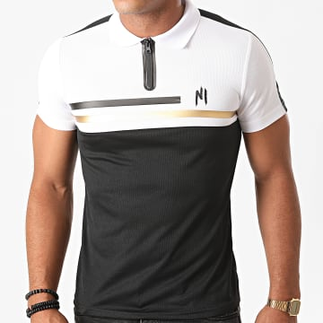 NI by Ninho - Polo Manches Courtes A Bande Shaft Noir Blanc