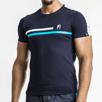 NI by Ninho - Tee Shirt A Bande Shaft Bleu Marine