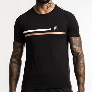 NI by Ninho - Tee Shirt A Bande Shaft Noir Blanc