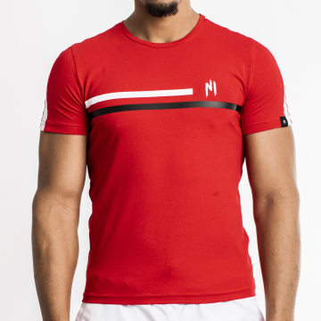 NI by Ninho - Tee Shirt A Bande Shaft Blanc Rouge
