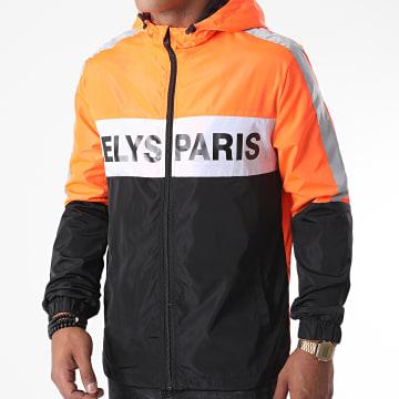 Zelys Paris - Coupe-Vent Capuche Zippé Fast Réfléchissant Noir Orange