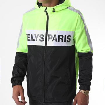 Zelys Paris - Coupe-Vent Capuche Zippé Fast Réfléchissant Noir Vert Fluo