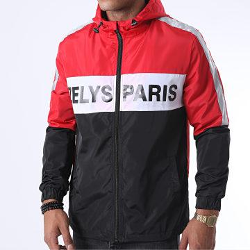 Zelys Paris - Coupe-Vent Capuche Zippé Fast Réfléchissant Noir Rouge