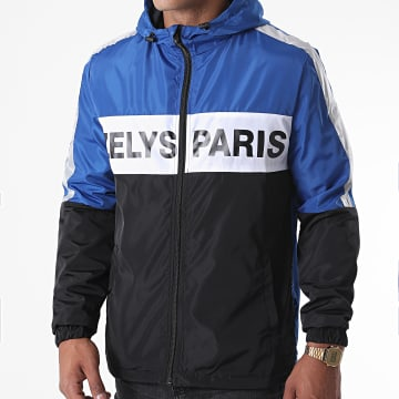 Zelys Paris - Coupe-Vent Capuche Zippé Fast Réfléchissant Noir Bleu