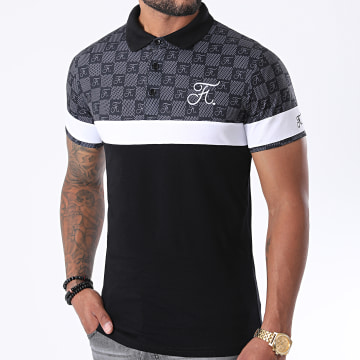 Final Club - Polo Damier Tricolore Avec Broderie 381 Noir Gris