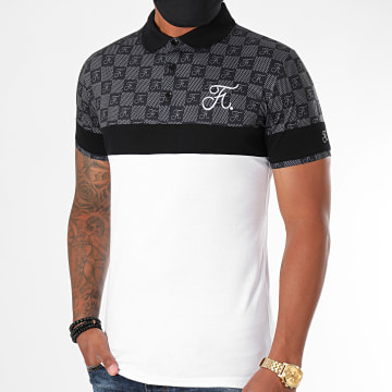 Final Club - Polo Damier Avec Broderie 383 Blanc Gris Anthracite