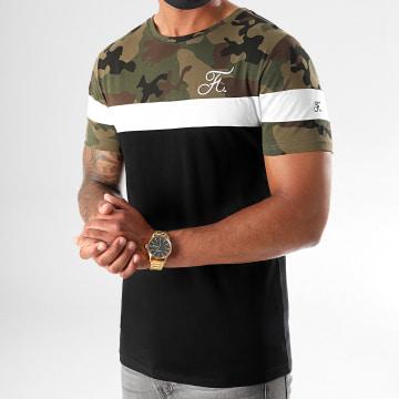 Final Club - Tee Shirt Camouflage Tricolore Avec Broderie 407 Noir Vert Kaki