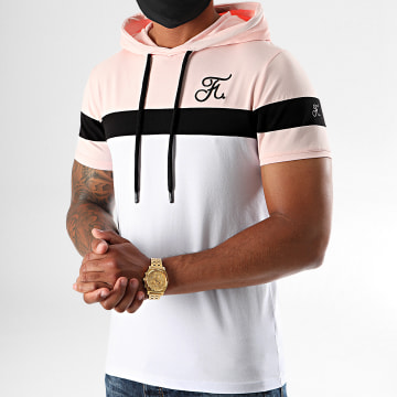 Final Club - Tee Shirt Tricolore A Capuche 411 Blanc Noir Rose