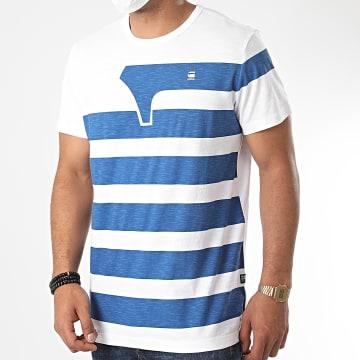 G-Star - Tee Shirt One Stripes D17115 Blanc Bleu