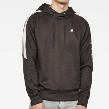 G-Star - Sweat Capuche A Bandes Side Stripe D17427 Gris Anthracite