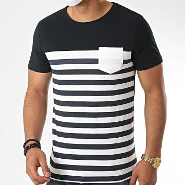 LBO - Tee Shirt Poche Bicolore Avec Rayures 1088 Bleu Marine