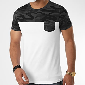 LBO - Tee Shirt Poche Camouflage 1090 Blanc Gris Anthracite