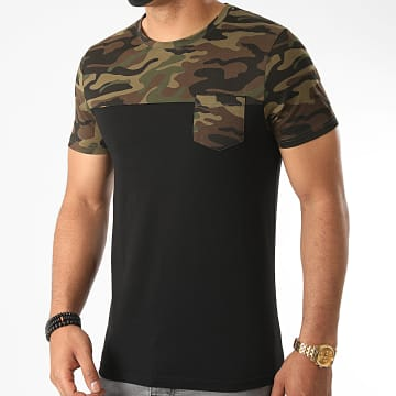 LBO - Tee Shirt Poche Camouflage 1091 Noir Vert Kaki