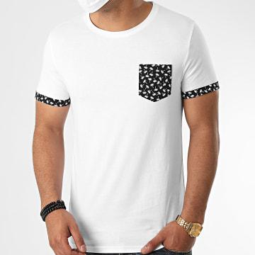 LBO - Tee Shirt Avec Poche Et Revers Imprimé Palmier 1096 Blanc