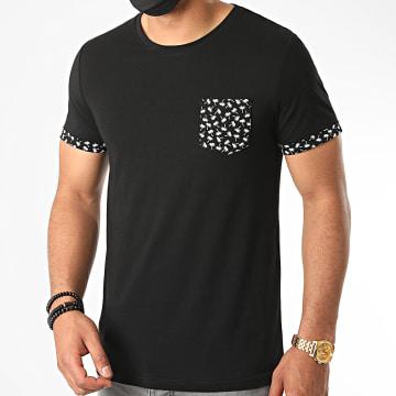 LBO - Tee Shirt Avec Poche Et Revers Imprimé Palmier 1097 Noir