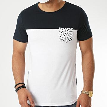 LBO - Tee Shirt Bicolore Avec Poche Imprimé Palmier 1098 Blanc