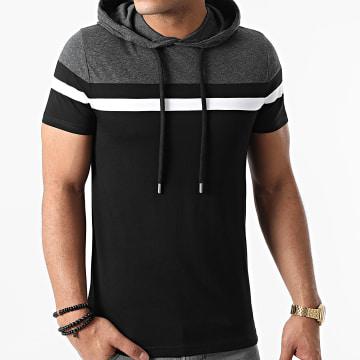 LBO - Tee Shirt Capuche Tricolore 1113 Gris Anthracite Noir Blanc