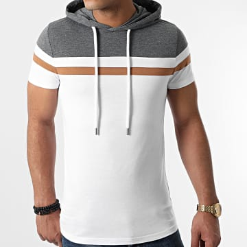 LBO - Tee Shirt Capuche Tricolore 1114 Gris Anthracite Blanc Camel