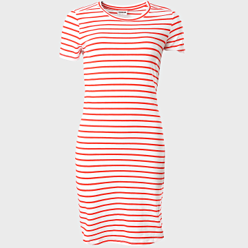 Noisy May - Robe Tee Shirt Femme A Rayures Simma Blanc Rouge
