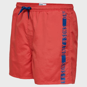Only And Sons - Short De Bain Sted 22016134 Rouge