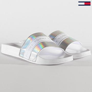 Tommy Hilfiger - Claquettes Femme Glitter Pool Side 4811 Blanc
