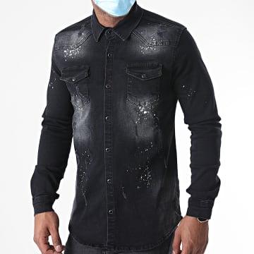 Zelys Paris - Chemise Manches Longues Jean Acolors Noir