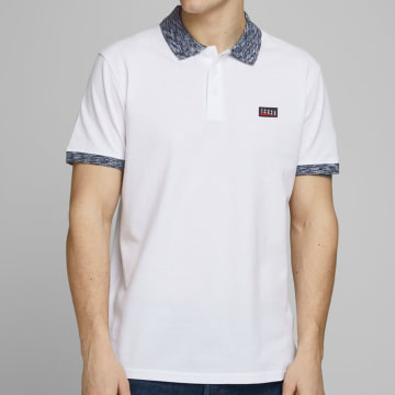 Jack And Jones - Polo Manches Courtes Contrast Piping 12171398 Blanc