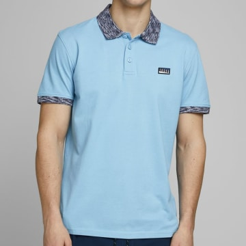 Jack And Jones - Polo Manches Courtes Contrast Piping 12171398 Bleu Ciel