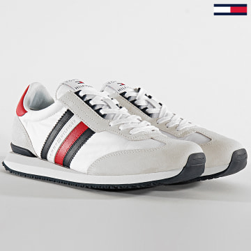 Tommy Hilfiger - Baskets Low Mix Runner Stripes 2845 White Primary Red