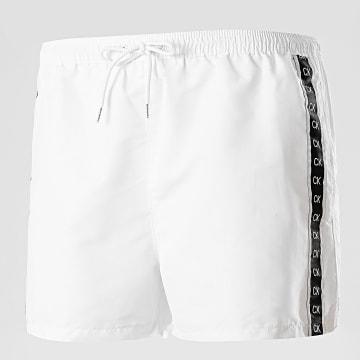 Calvin Klein - Short De Bain A Bandes Drawstring 0451 Blanc