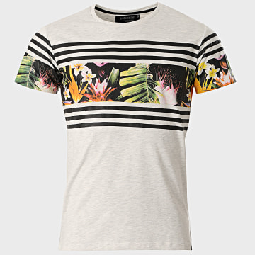 Indicode Jeans - Tee Shirt Oversize Vitoria-Gasteiz Gris Chiné Floral
