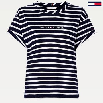 Tommy Hilfiger - Tee Shirt Femme Essential 8325 Bleu Marine Blanc