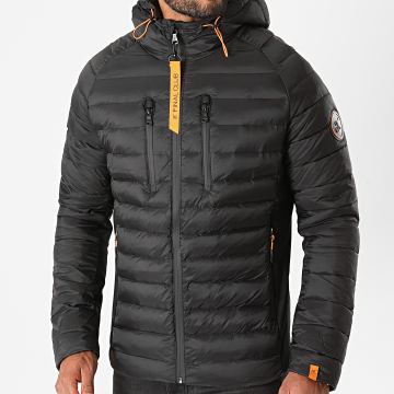 Final Club - Doudoune Capuche Premium Tech Noir Orange