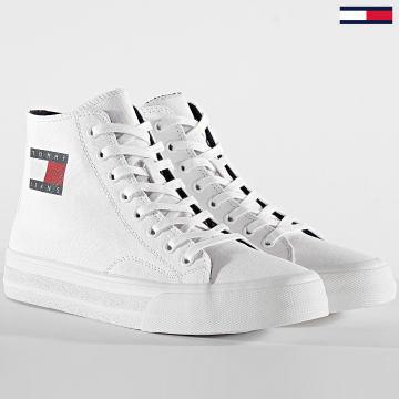 Tommy Jeans - Baskets Montantes Mid Cut Lace Up Vulc 0485 Blanc