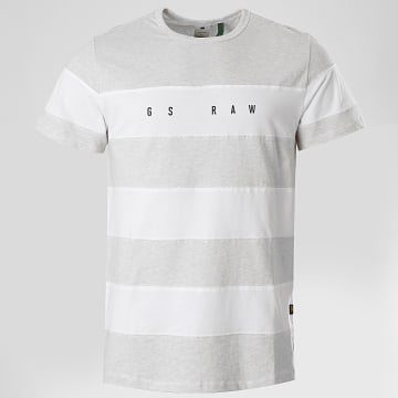 G-Star - Tee Shirt A Rayures Block D17146-336 Gris Chiné Blanc