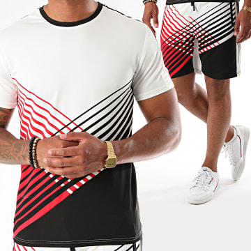 Zayne Paris  - Ensemble Tee Shirt Short A Bandes E86 Ecru Rouge Noir