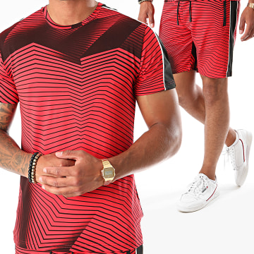 Zayne Paris  - Ensemble Tee Shirt Short A Bandes E84 Rouge