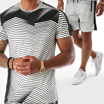 Zayne Paris  - Ensemble Tee Shirt Short A Bandes E84 Blanc
