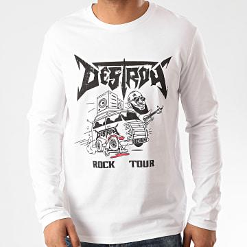 Neochrome - Tee Shirt Manches Longues Destroy Blanc