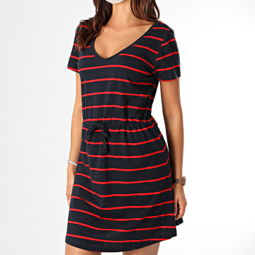 Only - Robe Femme May Life 15202994 Bleu Marine Rouge