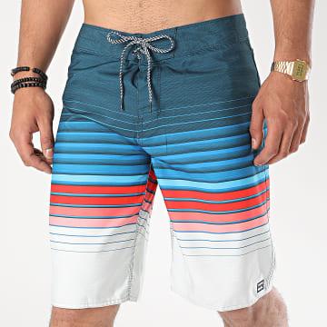 Billabong - Short De Bain All Day Stripe Bleu Marine Rouge Gris