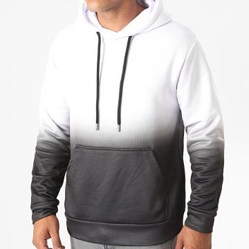 LBO - Sweat Capuche 1151 Blanc Dégradé Noir