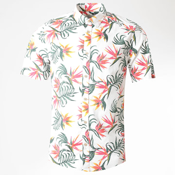 Only And Sons - Chemise Manches Courtes Floral Alfi Blanc